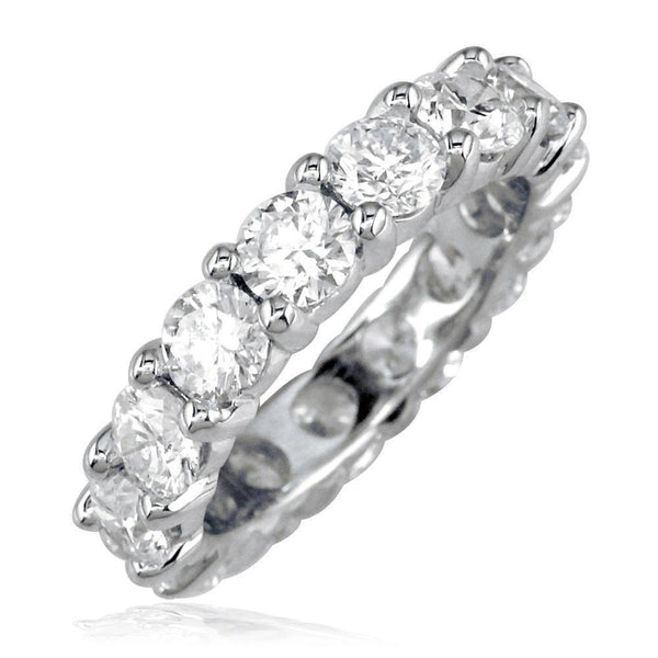 Diamond Eternity Band, Round Diamonds Set with Shared Prongs, 4.95CT in 14K White Gold