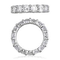 Diamond Eternity Band, Round Diamonds Set with Shared Prongs, 4.95CT in 18K White Gold