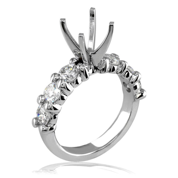 Diamond Engagement Ring Setting in 18K White Gold, 1.50CT