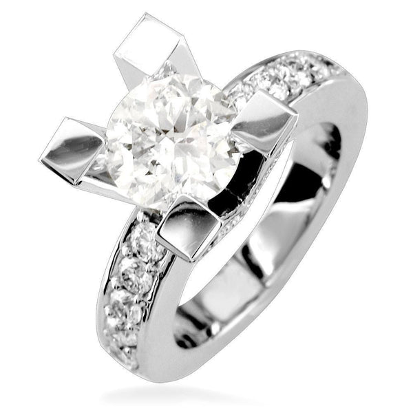 Round Diamond Engagement Ring Setting in 14K White Gold, 0.75CT Total Sides
