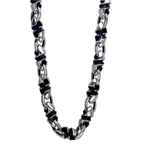 Mens Large Twisted Bullet Link Chain in Sterling Silver with Black