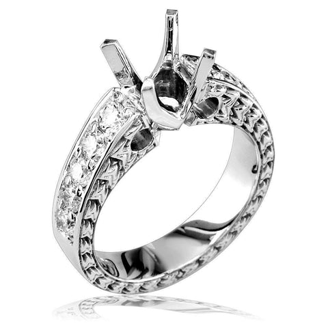 Diamond Engagement Ring Setting in 18k White Gold, 0.75CT
