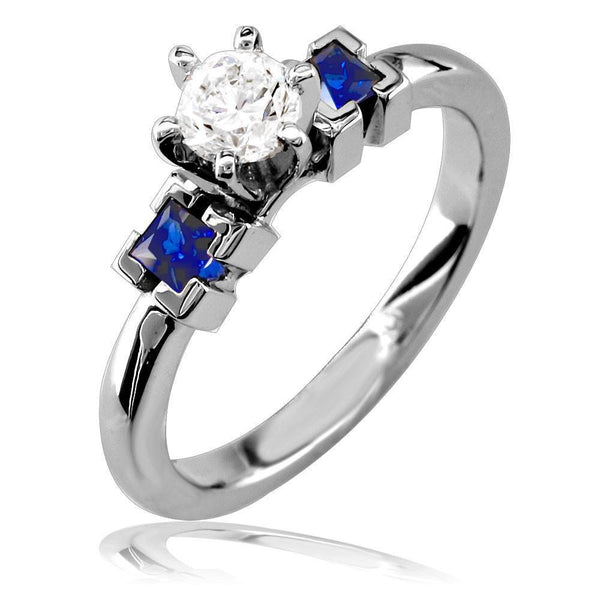 Complete Round Diamond and Sapphire Engagement Ring in 14K White Gold, 0.30CT Center