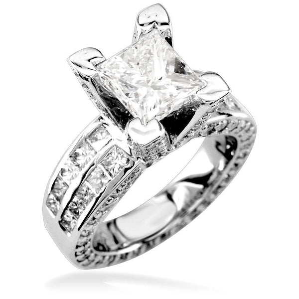 Princess Cut Diamond Engagement Ring Setting in 14K White Gold, 2.0CT Total Sides