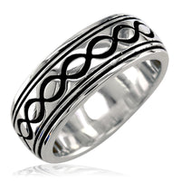 Wide Infinity Wedding Band with Black in Sterling Silver, 8.5mm
