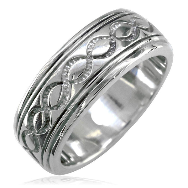Wide Infinity Wedding Band in 14k White Gold, 8.5mm