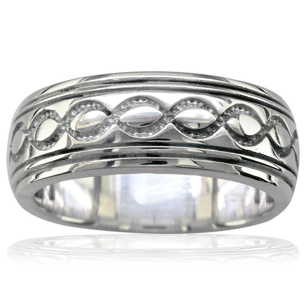 Infinity Wedding Band.Wide Infinity Wedding Band In 14k White Gold 8 5mm