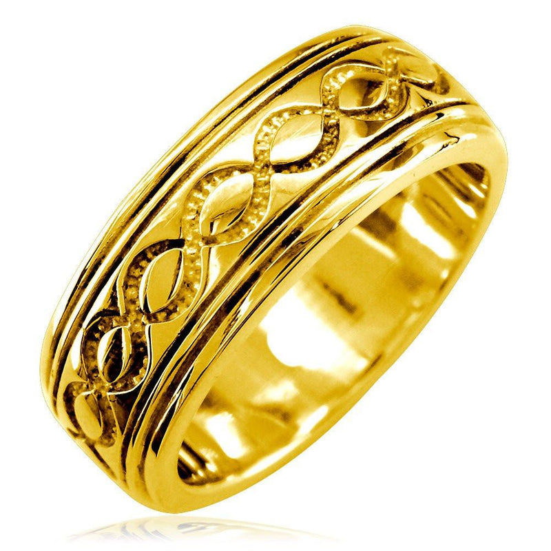 Wide Infinity Wedding Band in 14k Yellow Gold, 8.5mm