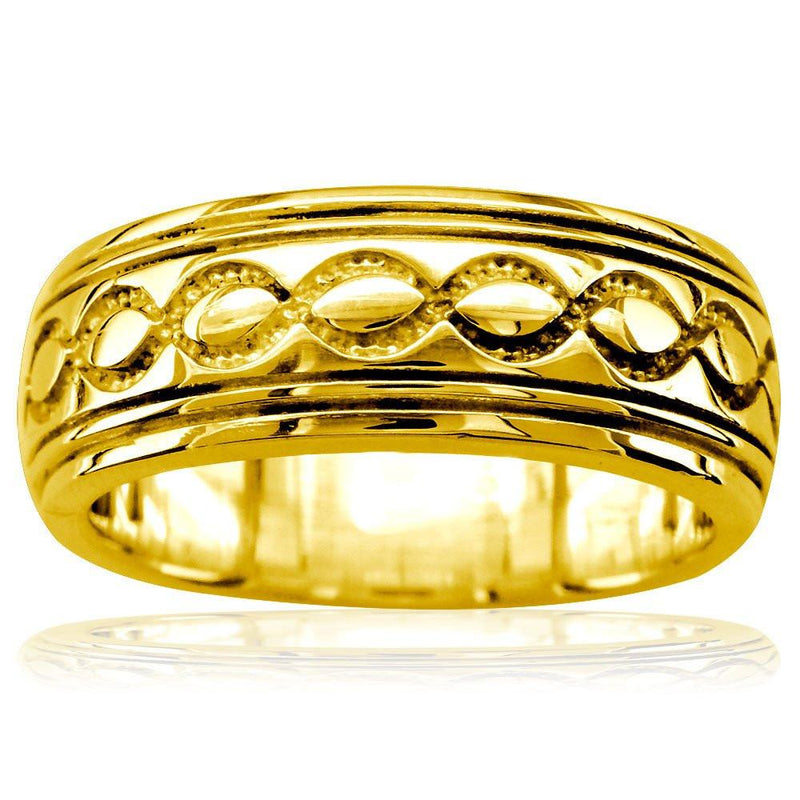 Wide Infinity Wedding Band in 18k Yellow Gold, 8.5mm