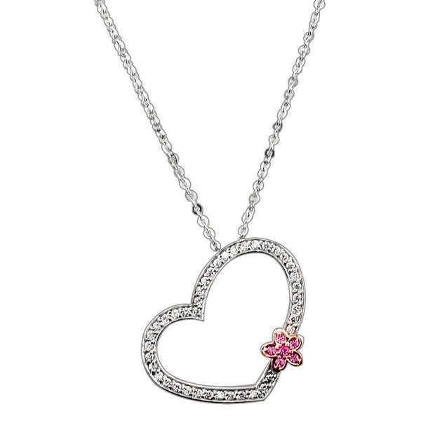 Open Diamond Heart and Flower in 18K