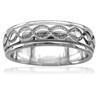 Carved Infinity Scroll Band 18K White Gold