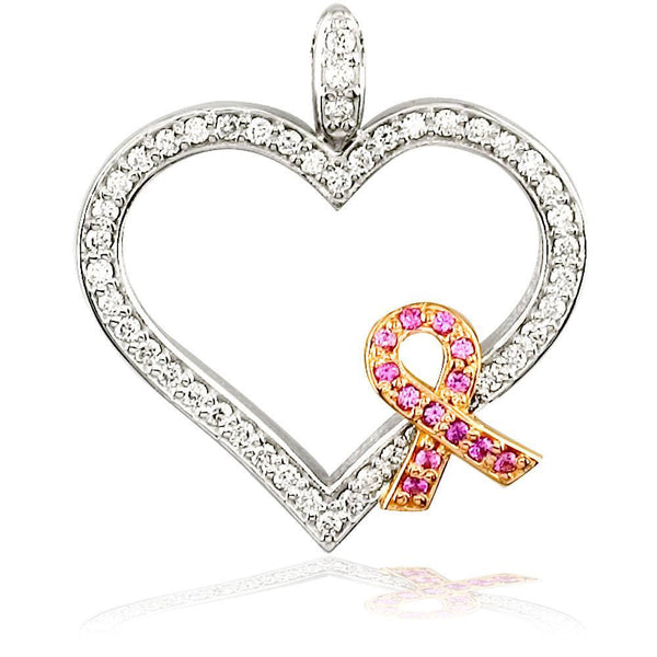 Large Diamond and Pink Sapphire Breast Cancer Awareness Ribbon and Heart in 18K