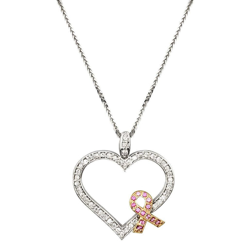 Medium Diamond and Pink Sapphire Breast Cancer Awareness Ribbon and Heart in 14K
