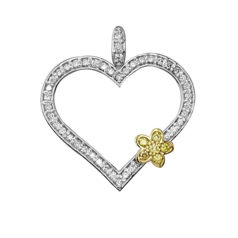 Medium Heart & Flower Pendant in 18K