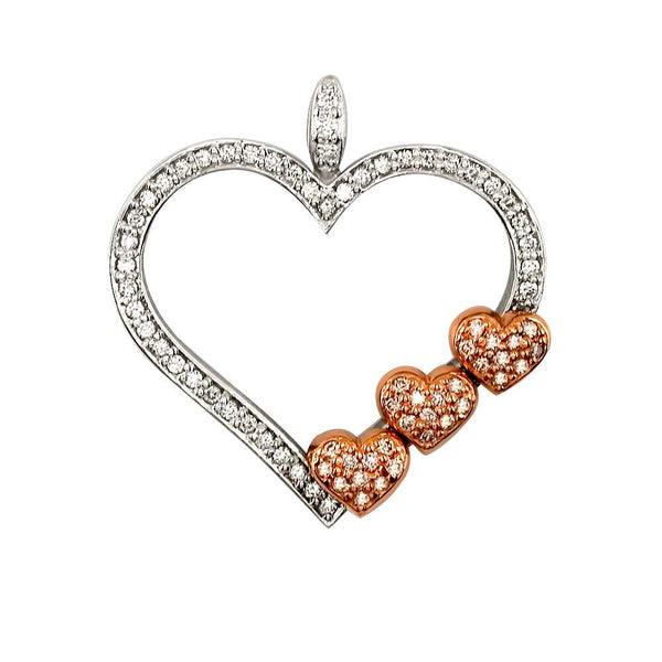 Medium Mothers Love Diamond Heart Pendant with 3 Children Hearts in 18K
