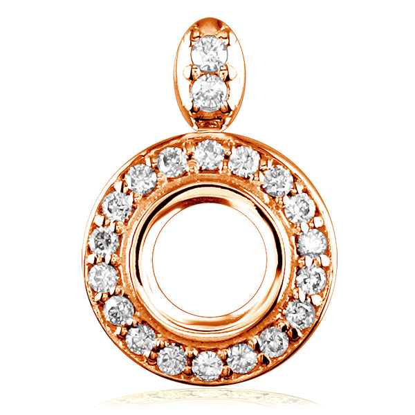 Diamond Halo Pendant for about a 6mm Round Center in 14k Pink Gold