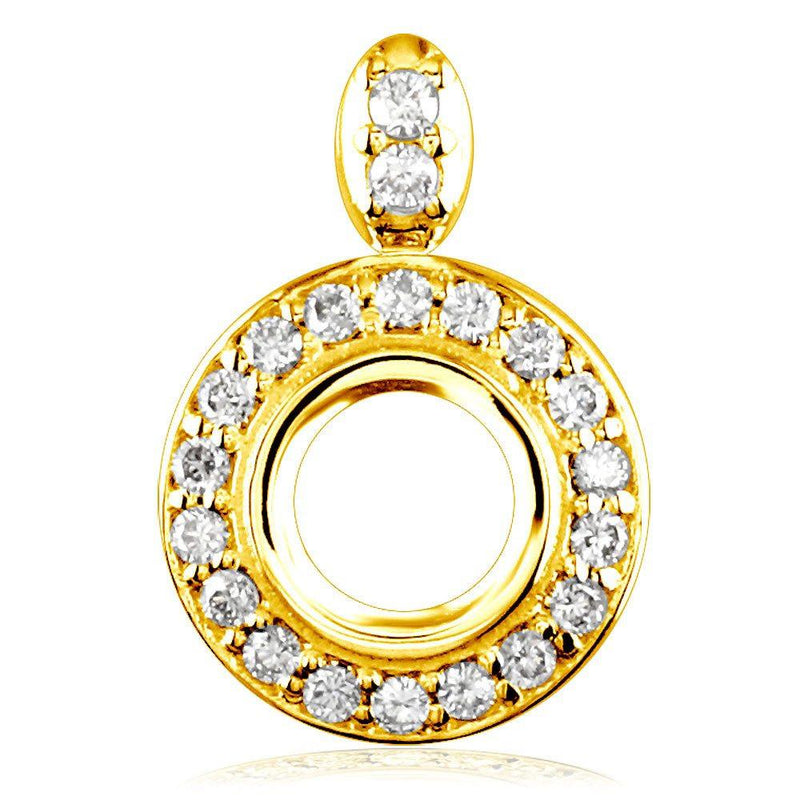 13mm Diamond Halo Pendant Setting, 0.35CT Sides in 14k Yellow Gold