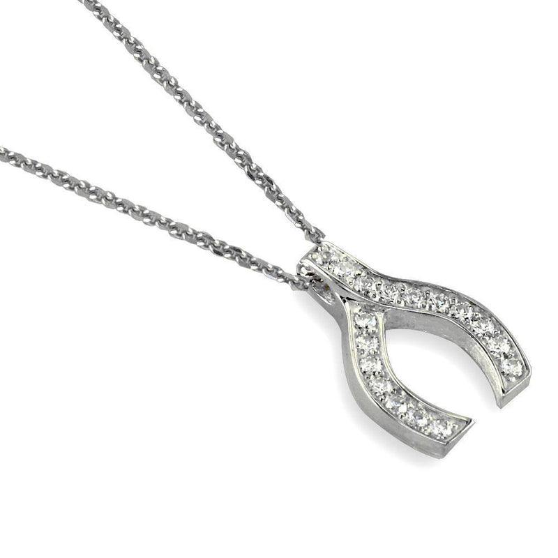 Cubic Zirconia Wishbone Pendant in Sterling Silver, 19mm