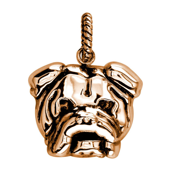 Large Bulldog Charm with Black # 3797 in 14K rose (pink) gold