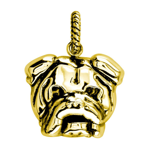 Large Bulldog Charm with Black # 3797 in 14K yellow gold