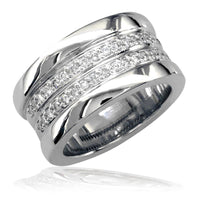 Wide Diamond Band in 14K, 2 Rows Of Diamonds 0.65CT