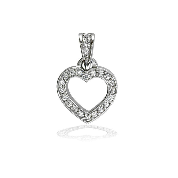 Small Open Diamond Heart Charm in 14K White Gold