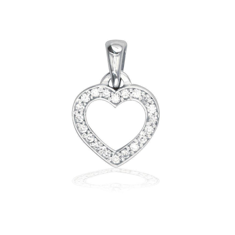 Small Diamond Heart Charm 0.20CT in 14K White Gold