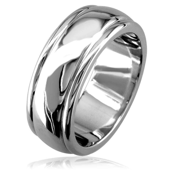 Mens Wide Band with Slightly Domed Middle in 14K