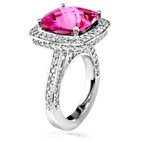 Large Checkerboard Cut Blush Topaz and Diamond Ring in 18K