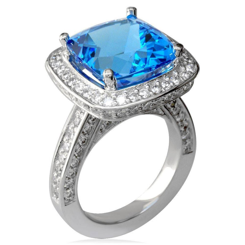 Large Checkerboard Cut Blue Topaz and Diamond Ring in 18K