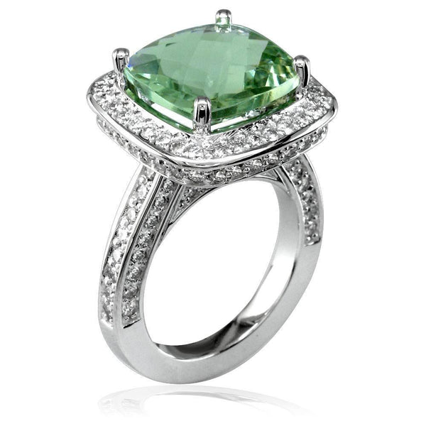 Large Checkerboard Cut Green Amethyst and Diamond Ring in 18K