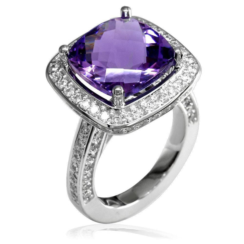 Large Checkerboard Cut Amethyst and Diamond Ring in 18K