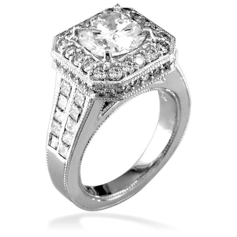 Round Diamond Halo Engagement Ring Setting in 14K White Gold, 1.6CT