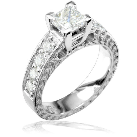 Princess Cut Diamond Engagement Ring Setting in 14K White Gold, 1.0CT Total Sides
