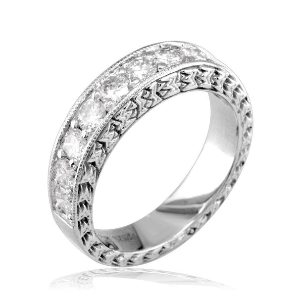 Matching Wedding Band with Carved Designs in 18K