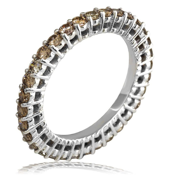 Champagne Diamond Eternity Band, 1.50CT E/W-Z38508Wb