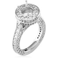 Diamond Halo Engagement Ring Setting, 2.71CT in 18k White Gold