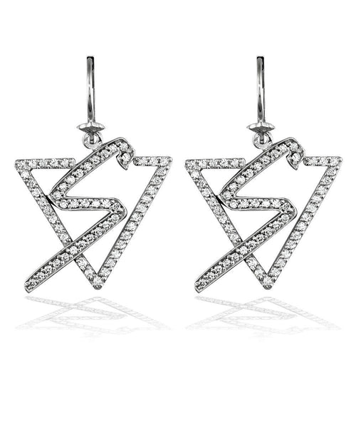 Sziro Logo Earrings in 14K with Cubic Zirconia