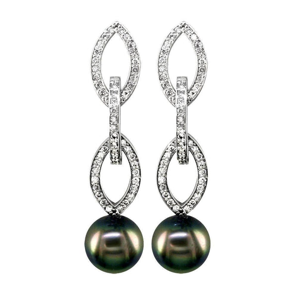 Hanging Tahitian Pearl and Diamond Earrings
