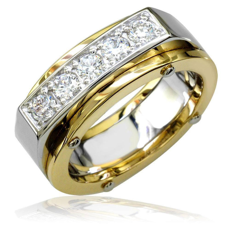 Two-Tone Diamond Mens Ring in 18K, 0.75CT