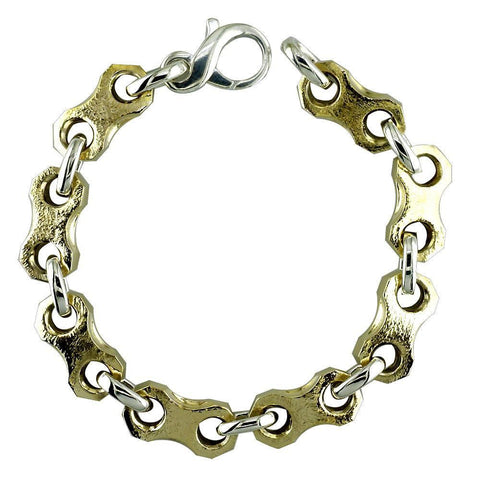 Mens Nut and Bolts Bracelet in Textured Bronze and Sterling Silver, 8.5 Inches