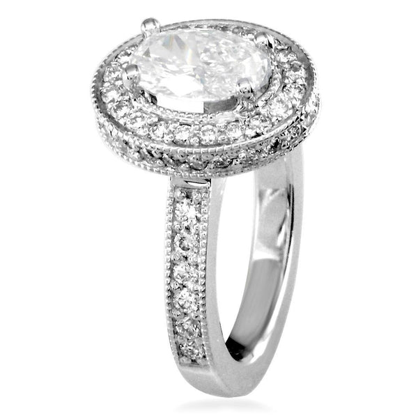 Oval Diamond Halo Engagement Ring Setting in 14K White Gold, 1.0CT