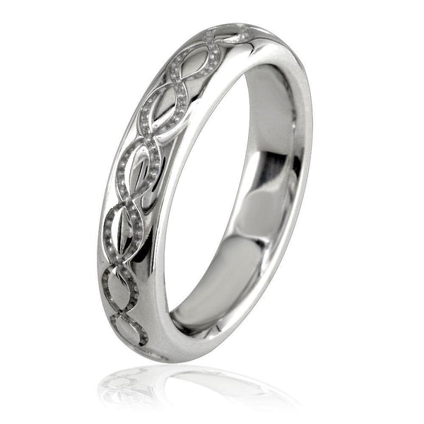 Domed Wedding Ring Carved with Infinity Symbols, 4mm in 14K White Gold
