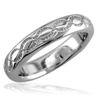 Domed Wedding Ring Carved with Infinity Symbols, 4mm in Sterling Silver