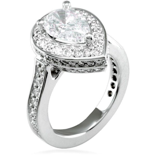 Pear Shape Diamond Halo Engagement Ring Setting in 18K White Gold, 1.24CT