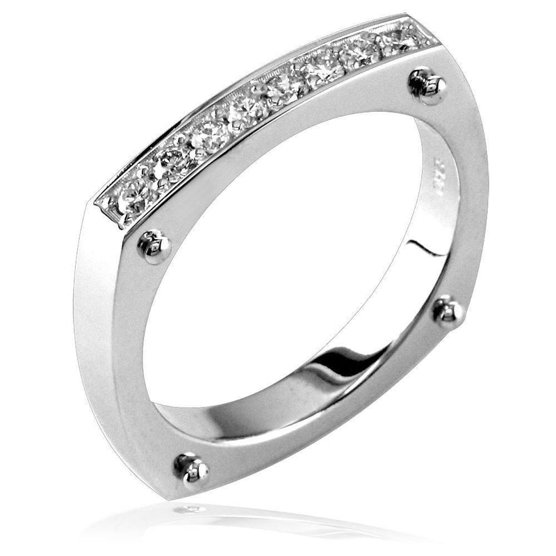 Diamond Band with Squared Corners and Pins in 14K