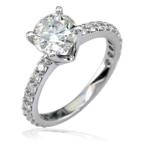 Diamond Engagement Ring Setting in 18K White Gold, 0.60CT