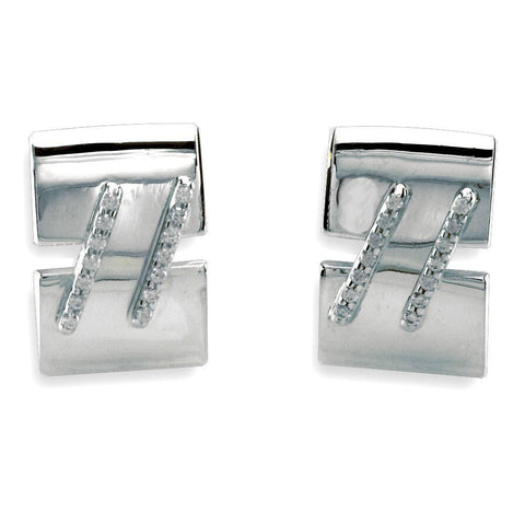 Large Cubic Zirconia Bar Cufflinks in Sterling Silver