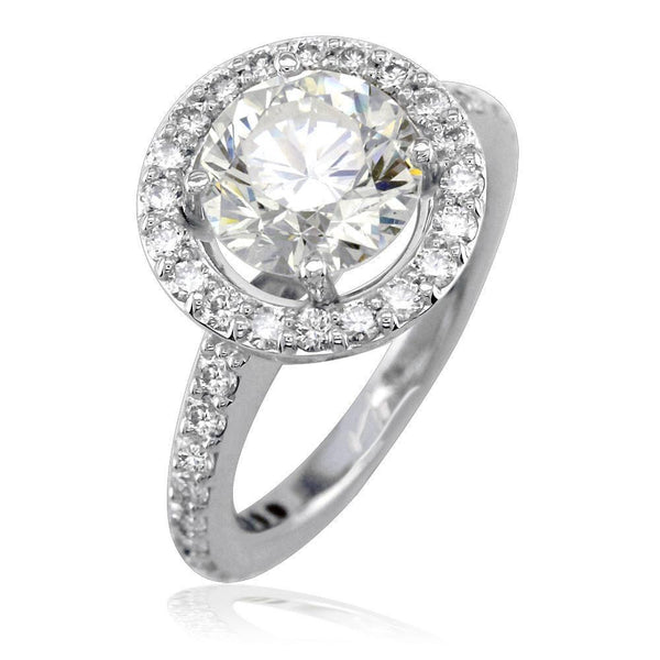 Diamond Halo Engagement Ring Setting in 18K White Gold, 1.10CT