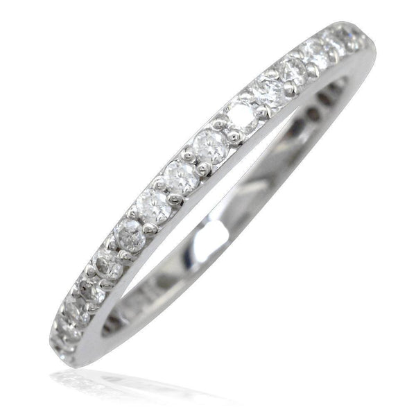 2mm Wide Diamond Wedding Band in 14K, 0.30CT